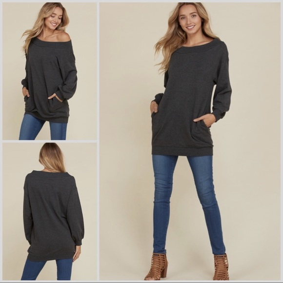 cf88eacf87c6b6 Des Feli Tops | Black French Terry Off One Shoulder Top | Poshmark
